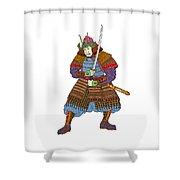 Vintage Samurai Katana Woodblock Print Shower Curtain