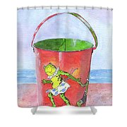Vintage Sand Pail Dancing Frogs Shower Curtain