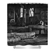 Vintage Sawmill In Black And White Shower Curtain