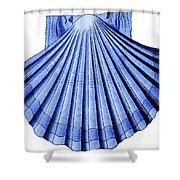 Vintage Scallop Shell Blue Shower Curtain