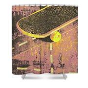 Vintage Skateboard Ruling The Road Shower Curtain
