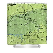 Vintage Smoky Mountains National Park Map Shower Curtain