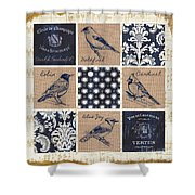 Vintage Songbirds Patch Shower Curtain
