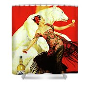 Vintage Spanish Liquor Ad, Flamenco Dancer, Polar Bear Shower Curtain