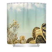 Vintage Spools And Farmyard Skies Shower Curtain