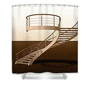 Vintage Stair 48 Escalera Caracol Helicoidal Shower Curtain