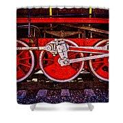 Vintage Steam Train Wheels Shower Curtain
