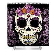 Vintage Sugar Skull And Roses Shower Curtain
