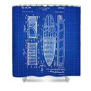 Vintage Surf Board Patent Blue Print 1950 Shower Curtain