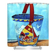 Vintage Tin Sand Bucket Shower Curtain