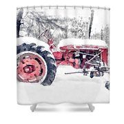 Vintage Tractor Christmas Shower Curtain