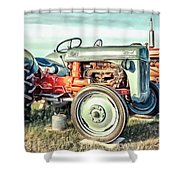 Vintage Tractors Pei Square Shower Curtain