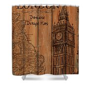 Vintage Travel London Shower Curtain