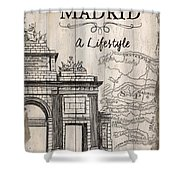 Vintage Travel Poster Madrid Shower Curtain
