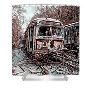 Vintage Trolley Streetcars Shower Curtain