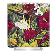 Vintage Tropical Flowers Shower Curtain