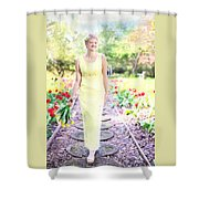 Vintage Val In Tulips Shower Curtain