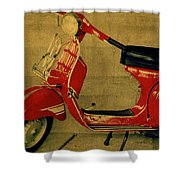 Vintage Vespa Scooter Red Shower Curtain
