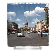 Vintage View Downtown Austin Looking Up Congress Avenue In Front Shower Curtain