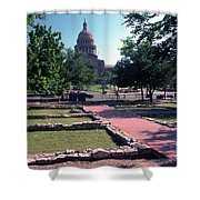 Vintage View Of The Foundation Of The First Texas Capitol That Burned Down In 1836 Shower Curtain