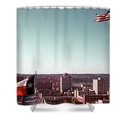 Vintage View Of The Texas And Usa Flags Flying On Top Of Texas State Capitol Shower Curtain