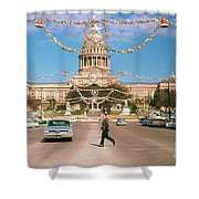 Vintage View Of The Texas State Capitol And Christmas Decorations Strung Along Congress Avenue From December 1960 Shower Curtain