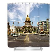 Vintage View Of The Texas State Capitol And Downtown Austin From September 1968 Shower Curtain