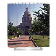 Vintage View Of The Texas State Capitol In Downtown Austin, Texas Shower Curtain