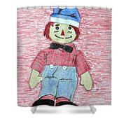 Vintage Volland Raggedy Andy Cloth Doll Shower Curtain