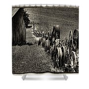 Vintage Wheel Fence Shower Curtain by David Patterson