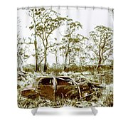 Vintage Winter Car Wreck Shower Curtain