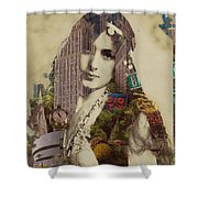 Vintage Woman Built By New York City 1 Shower Curtain
