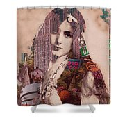 Vintage Woman Built By New York City 2 Shower Curtain