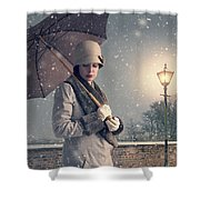 Vintage Woman With Coat Hat And Umbrella Outside In Snow Shower Curtain