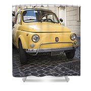 Vintage Yellow Fiat 500 In Rome Shower Curtain