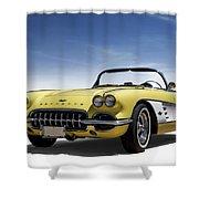 Vintage Yellow 'vette Shower Curtain