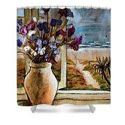 Violet Beach Flowers Shower Curtain
