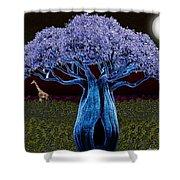 Violet Blue Baobab Shower Curtain