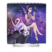 Violet Night Fantasy Shower Curtain