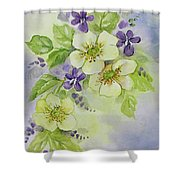 Violets And Wild Roses Shower Curtain