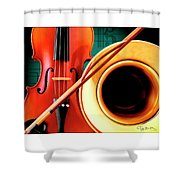 Violin And French Horn Shower Curtain