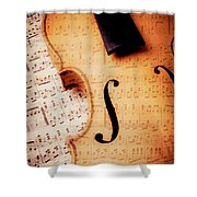 Violin And Musical Notes Shower Curtain