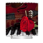 Violin And Rose On Piano Shower Curtain