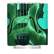 Violin In Green Shower Curtain