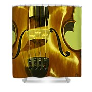 Violin In Yellow Shower Curtain
