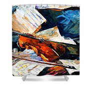 Violin - Palette Knife Oil Painting On Canvas By Leonid Afremov Shower Curtain