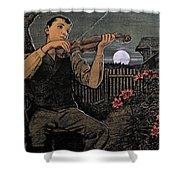 Violin Player To The Moon Shower Curtain