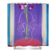 Violin Vase Shower Curtain