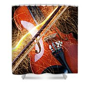 Violin With Sparks Flying From The Bow Shower Curtain by Garry Gay