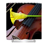 Violin With Yellow Calla Lily Shower Curtain